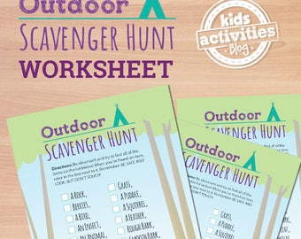 Outdoor Scavenger Hunt Printable Worksheet Activity