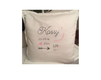 Personalized white cotton pillowcase