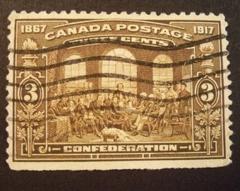 Canada Stamp 1917* 50 Anniv.Fathers of Confederation* Scott #135*Used-Hinged*VF