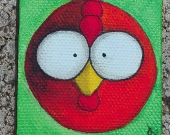 Magnet, mini painting of a funny orange chicken