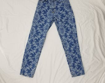 Vintage Guess ? womens floral high rise skinny mom jeans triangle logo size 28 actual 24 sz 0 or 2 blue white