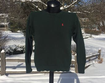 90s Polo Ralph Lauren plain blank cotton knit Dark green crew neck pullover Sweater size M simple minimal basic classic