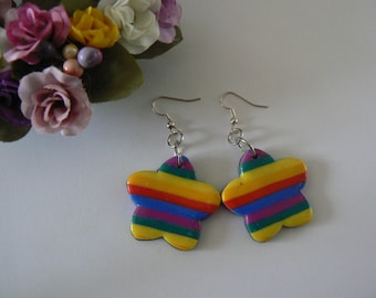 Rainbow Flower Earrings