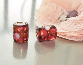 perles  verre tchèque, perle verre  lampwork, perle verre de Bohême mauve, fleur rose et  doré x4