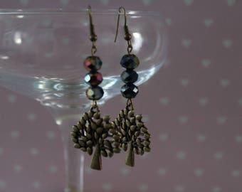 Midnight Blue tree charm earrings