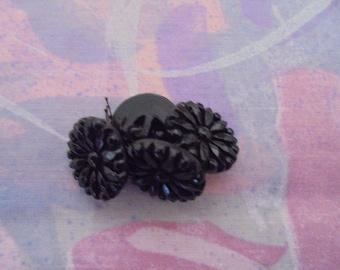 Set of 4 Vintage black buttons 18 mm