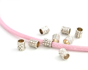 10 pearls pink(Roses) tubes silver large hole metal 7x4x6mm for 4mm cord