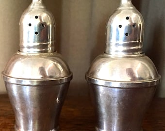 Vintage, weighted sterling salt and pepper shakers, glass interior, pretty
