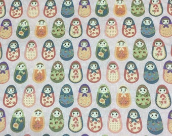 Matryoshka Russian Nesting Dolls on Pink Printed Fabric by the Half Yard 100% Cotton Made in Korea