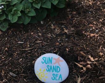 Sun Sand Sea Painted Rock / Garden Stone / Lake House Decor / Gift