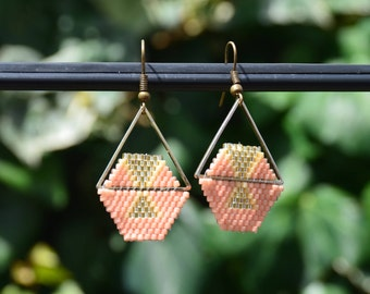 Beads Miyuki - Coral triangle geometric earrings