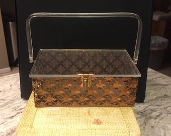 1950s lucite and brass box purse with filigree design - 1950s lucite purse - 1950s box purse - 1950s handbag