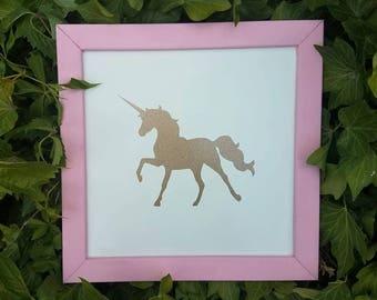 Baby Girl Nursery-Nursery Decor-Little Girls Room Decor-Square Framed Wooden Sign- Pink Frame-Gold Glitter-Vinyl-Unicorn