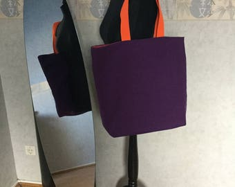 Large cotton tote bag purple and orange tote bag