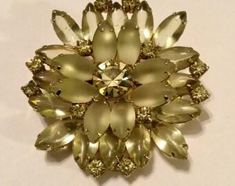 Rhinestones and Glass Bead Flower Pin