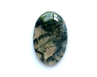 40% Discount, Moss Agate Oval Cabochon, Natural Designer Cabochon, 30x20 MM, 26 Cts, Moss Agate Natural Stone, Loose Cabochon.