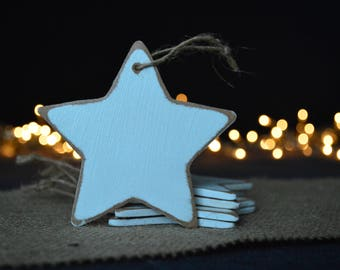Star christmas wooden ornaments, Set of 5 star ornaments, Christmas tree ornaments, Rustic ornaments, Christmas decor, Holiday decoration