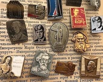 Soviet Badges 100% Original! Russian Ukrainian writers 22pcs Collectible