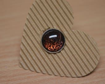 Ring cabochon 18mm, black with large glitter particles