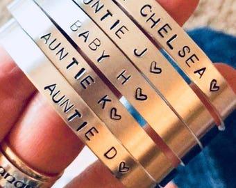 Personalized Bracelet,  Custom Bracelet, Personalized Hand-stamped cuff, Handstamped Bracelet Cuff