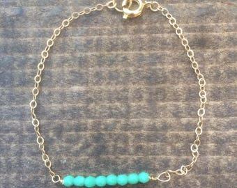 Mint green bar bracelet