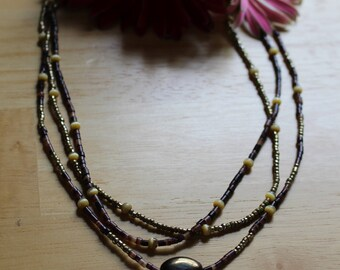 OOAK Brown and Gold Multi-Strand Necklace with Metallic Bead