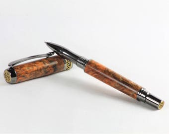 Wooden Rollerball Pen. Handmade in Yorkshire from Dyed Buckeye Burr Wood,Great Birthday Gift, Graduation, Christmas, Anniversary.