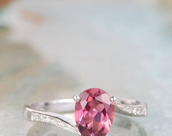 Tourmaline Engagement Ring Pear Shaped White Gold Diamond Infinity Half Eternity Stacking Unique Propose Art Deco Gift for Her Thin