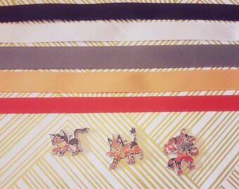 Litten / Torracat / Incineroar Alòla Fire Starter Pokemon Choker Necklace gold