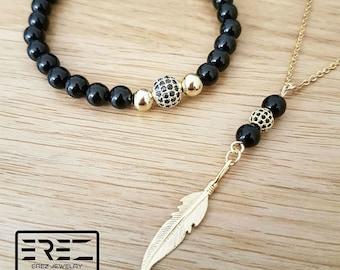 Men jewelry, mens necklace, feather necklace men, feather necklace gold, mens jewelry set, mens gift, onyx mens bracelet