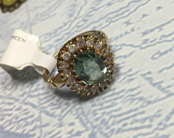 Green Zircon Halo Ring