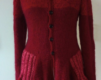 Sweater READY knitted red 38/40 hooded mohair