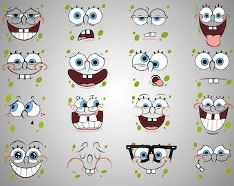 16x Sponge bob SVG file / Spongebob clipart / sponge bob expressions / spongebob printable / digital / instant download