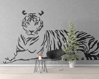 Looking Tiger Wall Decal, Majestic Animals Collection, Big Cat, Bedroom and Living room decor stickers, Wild Predator, Hunter