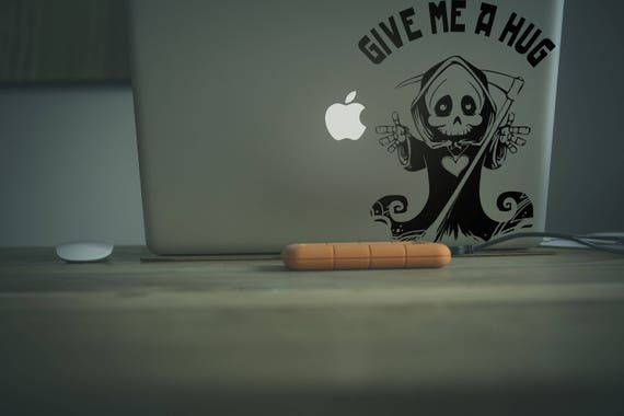 Hug Giving Death Decal Sticker for Macbooks and other Laptops, Apple sticker macbook vinyl macbook, Funny Humor Hugging Little Death, mac