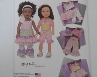 Simplicity Pattern 1296 DOLL CLOTHES fits American Girl and other 18 inch Doll 13 wardrobe pieces
