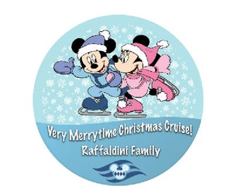 Very Merrytime Christmas Cruise - Disney Cruise Button - Winter Disney Button - Mickey and Minnie Ice Skating Button - Disney Cruise Bagde