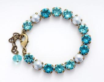 Light Teal Bracelet, Swarovski Bracelet, Aqua Crystal Bracelet, Aqua Rhinestone Bracelet, Crystal Tennis Bracelet Teal Bridal Bracelet Detta
