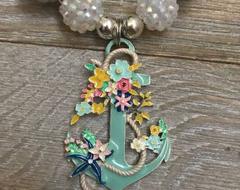 Pastel Anchor Gumball Necklace with Flowers