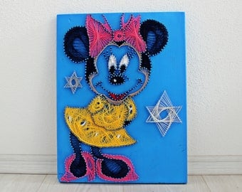 String Art/Minnie Mouse/Disney/ childhood/Wood art/ wall decoration/ Children room decoration/ playfulness/