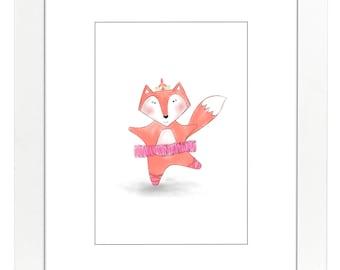 Pink Ballerina Foxy Legare Print