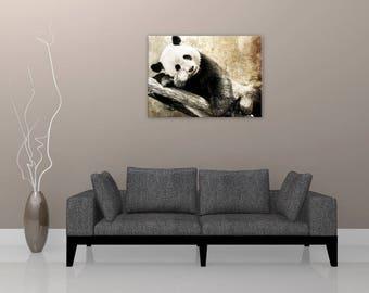 Panda wall painting, painting on canvas, digital art painting
