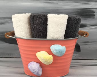 Coral Beach Bathroom Bin - Beach Bathroom - Bathroom Wash Cloth  Holder with Seashells.  4 dark gray wash cloths and 4 white wash cloths.