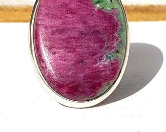 Oval Ruby Zoist Silver Ring, Adjustable size