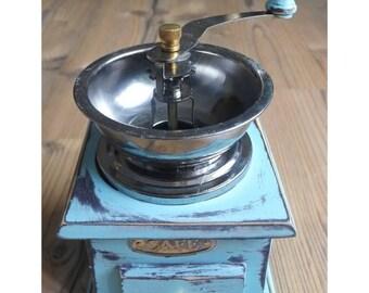 Blue coffee grinder