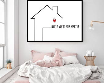 """Poster """"Home is where your heart is."""" / / MOO'NJOY / / A4 / A3 / A2"""