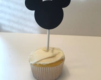 Mickey Mouse Ears Cupcake Toppers (Black Glitter)