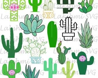 Cactus Monogram svg, cactus svg,cactus clipart,cactus silhouette,cactus png,dxf,eps,ai