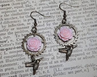 Earrings, steampunk, Kohlibri, resin, antique