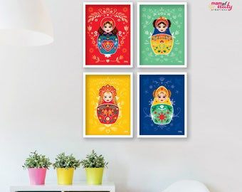 LOT posters deco kid matryoshka Russian dolls